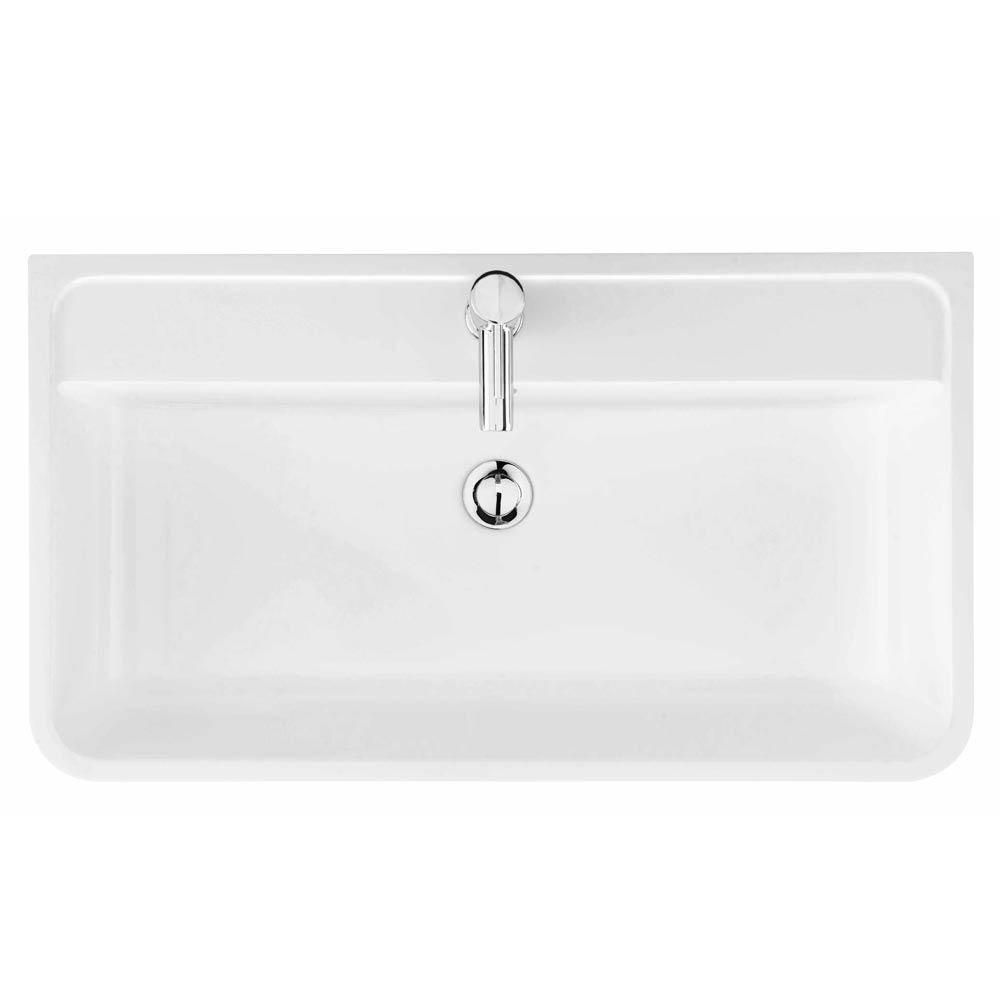 Monza 800 Wall Mounted Vanity Unit Inc. Basin + Side Cabinet - White Gloss profile large image view 2