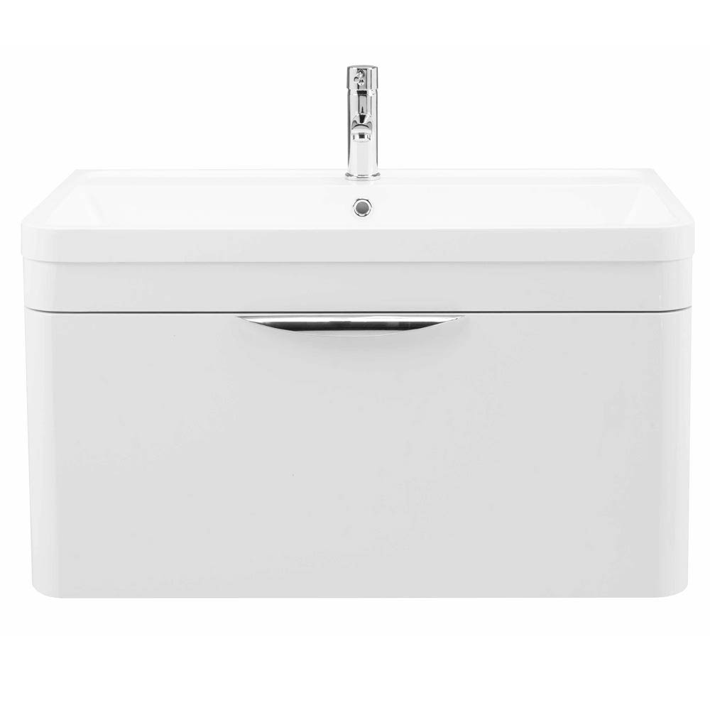 Monza 800 Wall Mounted Vanity Unit Inc. Basin + Side Cabinet - White Gloss profile large image view 3