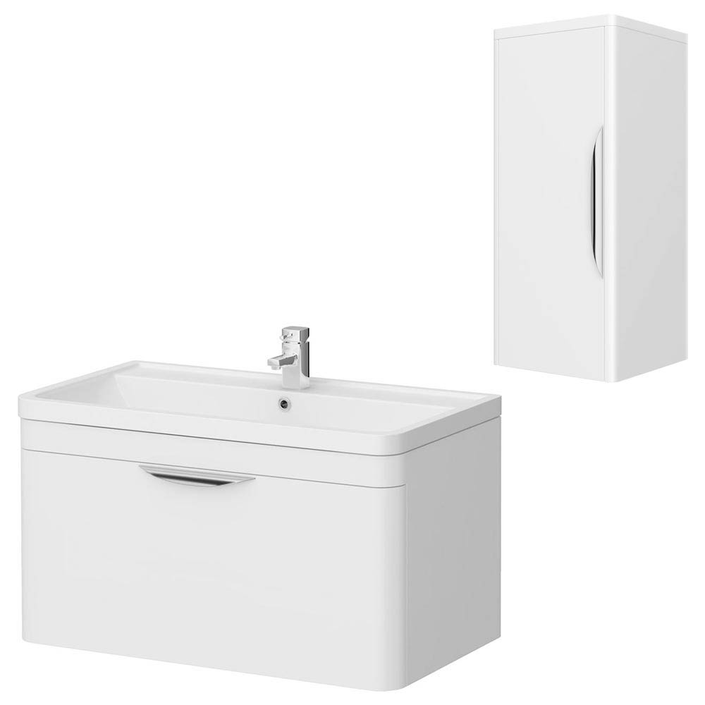 Monza 800 Wall Mounted Vanity Unit Inc. Basin + Side Cabinet - White Gloss Large Image