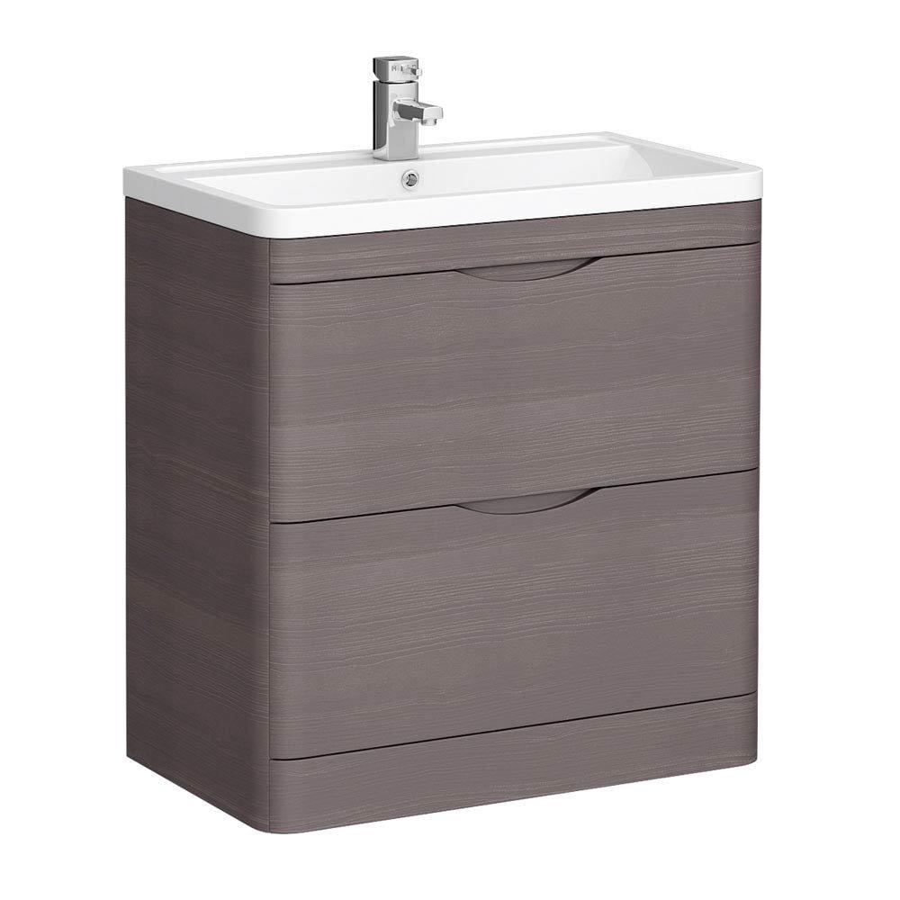 Monza 800mm Floor Standing Vanity Unit (Stone Grey Woodgrain - Depth 450mm) Large Image