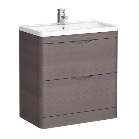 Monza 800mm Floor Standing Vanity Unit (Stone Grey Woodgrain - Depth 450mm)