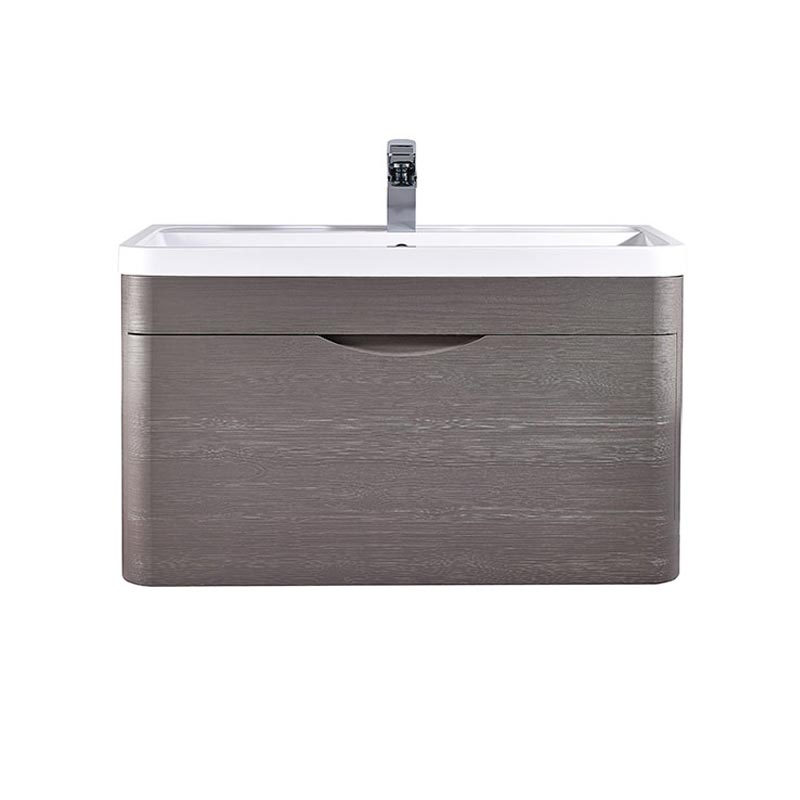 Monza 800mm Wall Hung 1 Drawer Vanity Unit (Stone Grey Woodgrain - Depth 450mm) Large Image