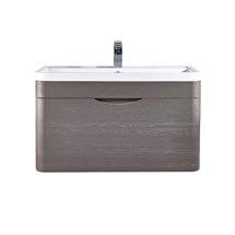 Monza 800mm Wall Hung 1 Drawer Vanity Unit (Stone Grey Woodgrain - Depth 450mm) Medium Image