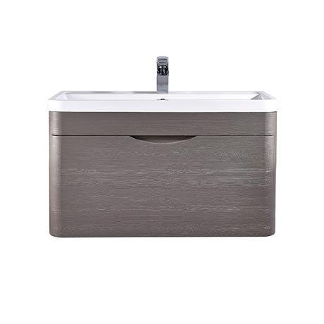 Monza 800mm Wall Hung 1 Drawer Vanity Unit (Stone Grey Woodgrain - Depth 450mm)
