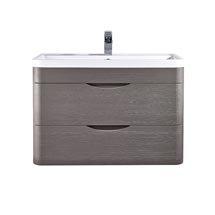 Monza 800mm Wall Hung 2 Drawer Vanity Unit (Stone Grey Woodgrain - Depth 450mm) Medium Image