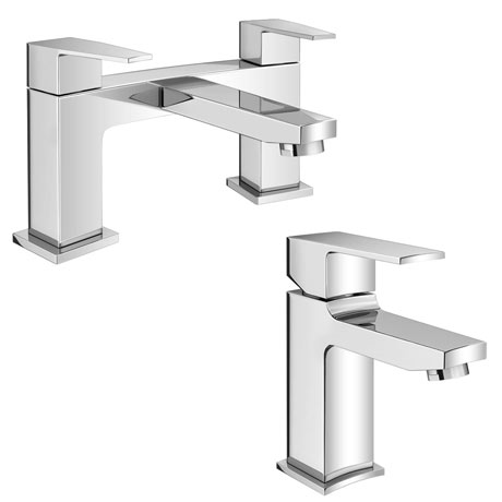 Monza Curved Modern Tap Package (Mono Basin Mixer + Bath Filler)
