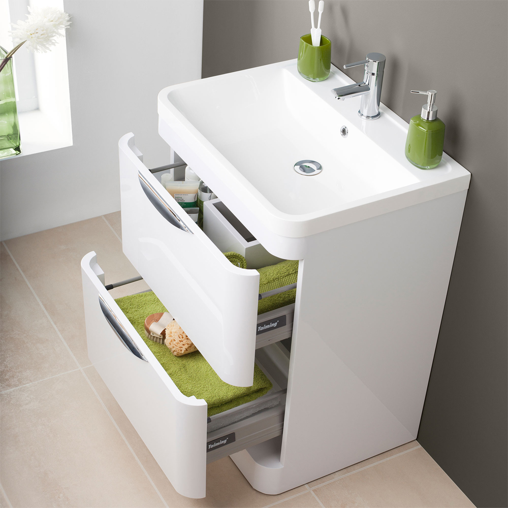 Monza Floor Standing Vanity Unit with Basin W600 x D445mm  Profile Large Image
