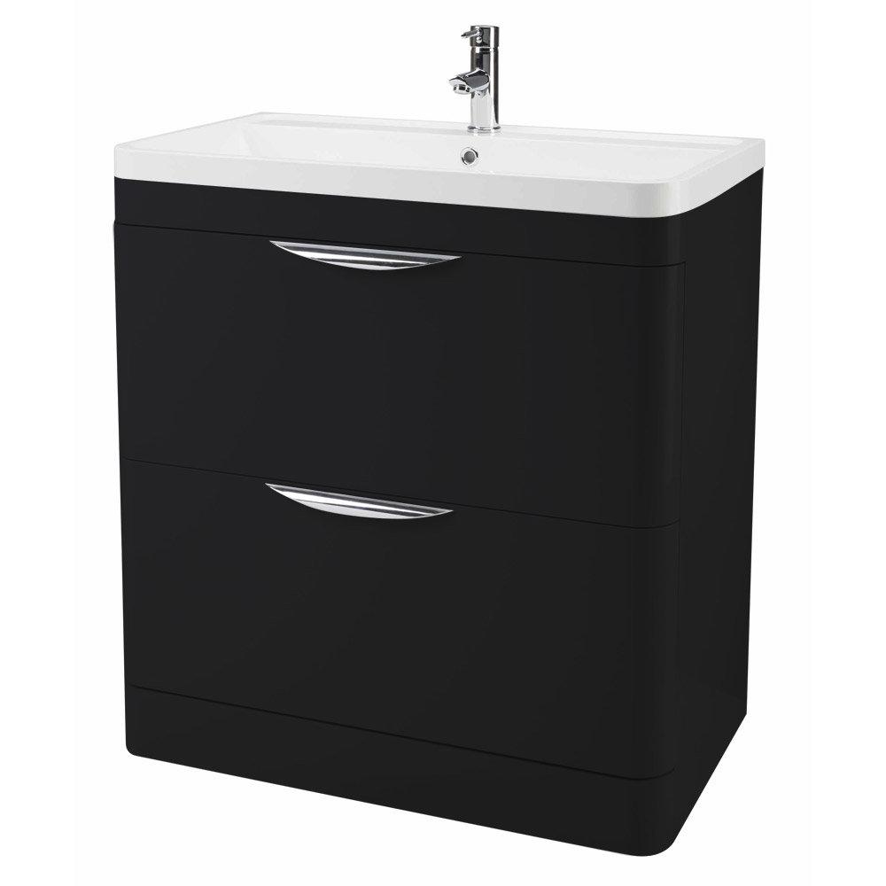 Monza Floor Standing Vanity Unit with Basin W800 x D445mm - Matt Black Large Image