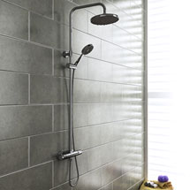 Monza Modern Round Thermostatic Shower - Chrome Medium Image