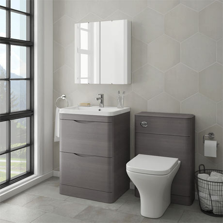 Monza modern stone grey sink vanity unit toilet package for Bath sink and toilet packages