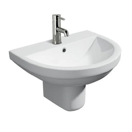 Monza Round Basin + Semi Pedestal (550mm Wide - 1 Tap Hole)