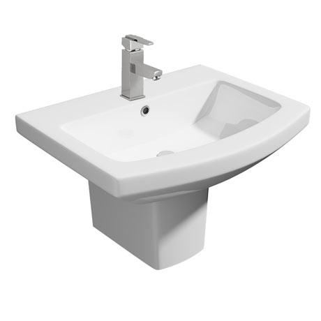 Monza Square Basin + Semi Pedestal (550mm Wide - 1 Tap Hole)