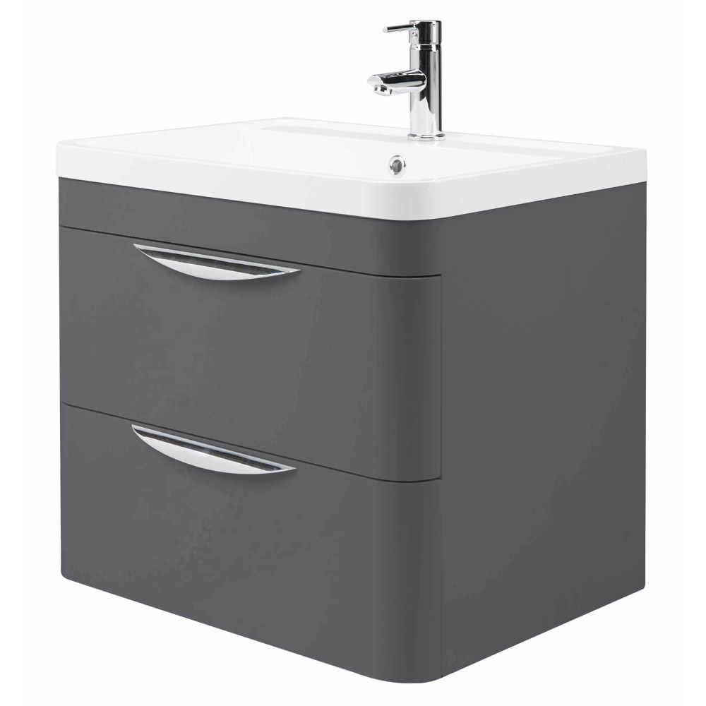 Monza Wall Hung 2 Drawer Vanity Unit With Basin W600 X