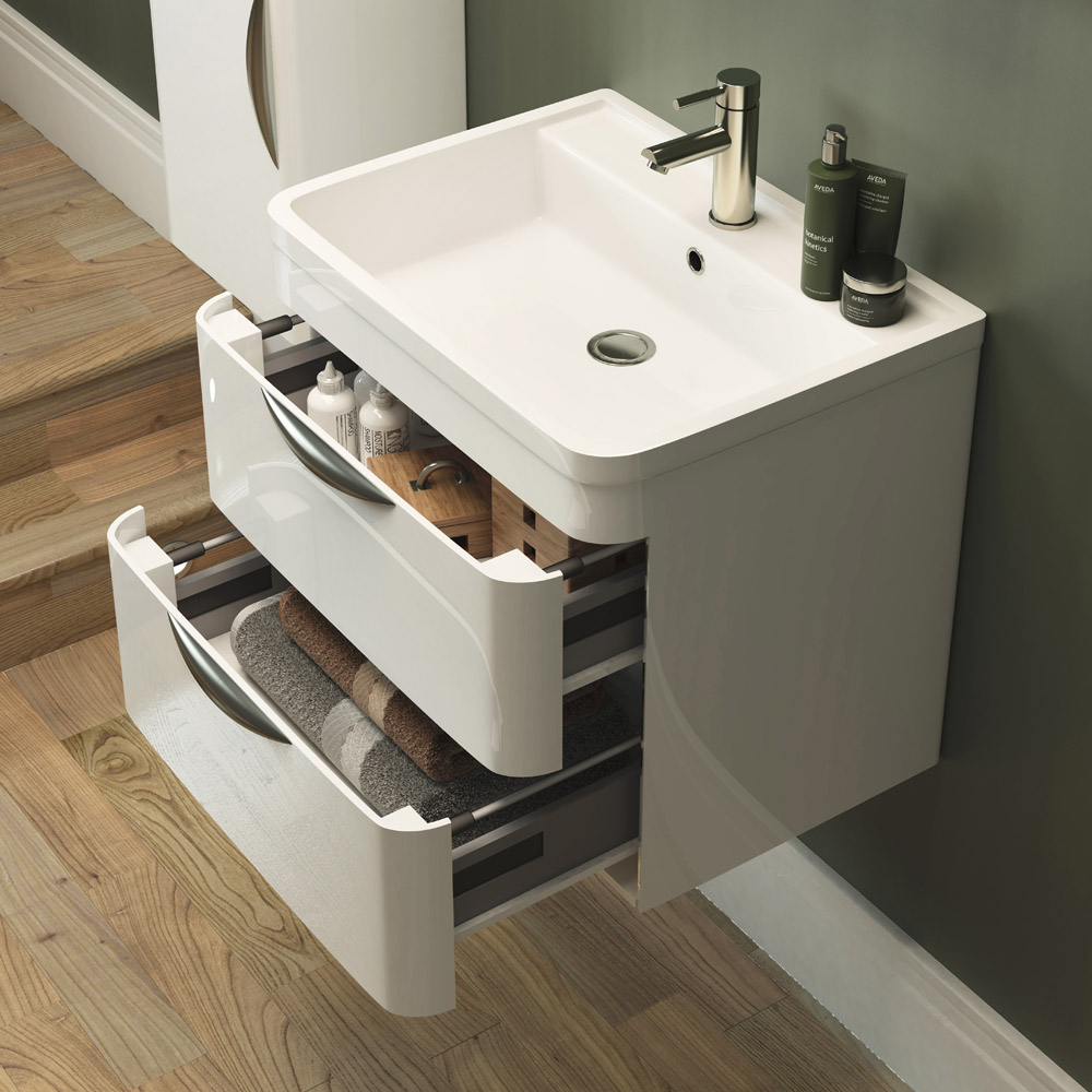 Monza Wall Hung 2 Drawer Vanity Unit with Basin W600 x D445mm profile large image view 2