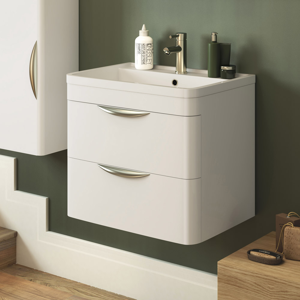 Monza Wall Hung 2 Drawer Vanity Unit with Basin W600 x D445mm profile large image view 3