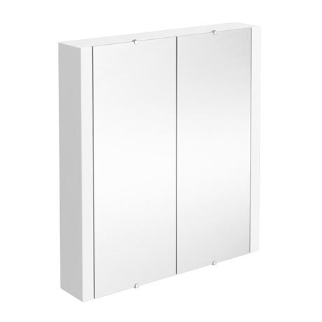 Monza White Minimalist Mirror Cabinet with 2 Doors W617 x D110mm