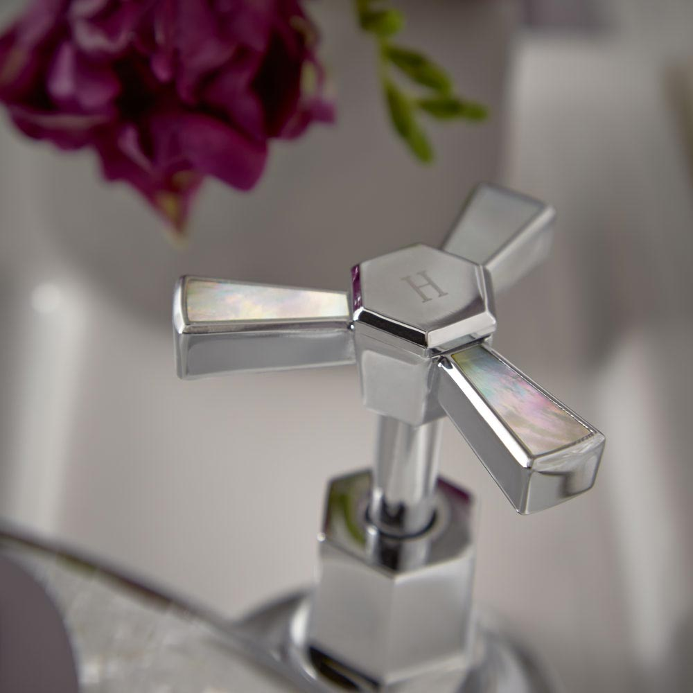 Heritage Gracechurch Mother of Pearl 3 Hole Basin Mixer with Pop-up Waste - TGRDMOP06 profile large image view 2