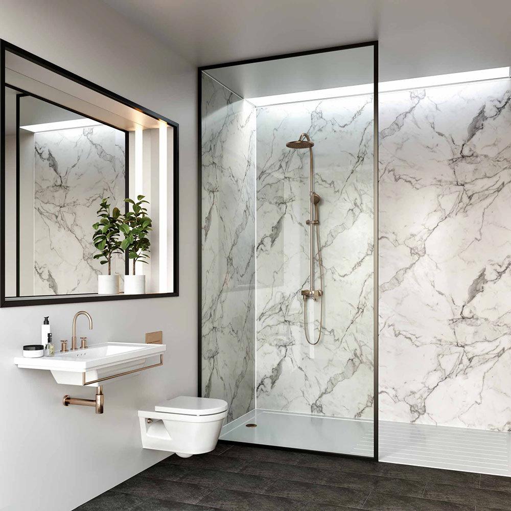 Multipanel Linda Barker Calacatta Marble Bathroom Wall Panel | Tiled Bathroom Wall Ideas