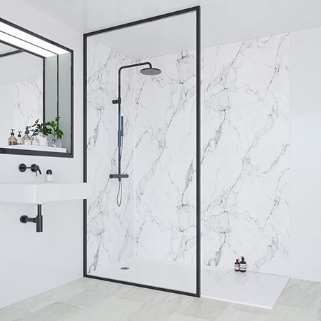 multipanel linda barker calacatta marble bathroom wall panel