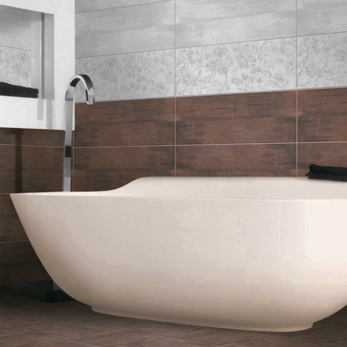 La Spezia Stone Effect Brown Matt Wall Tiles - 25 x 70cm  Profile Large Image