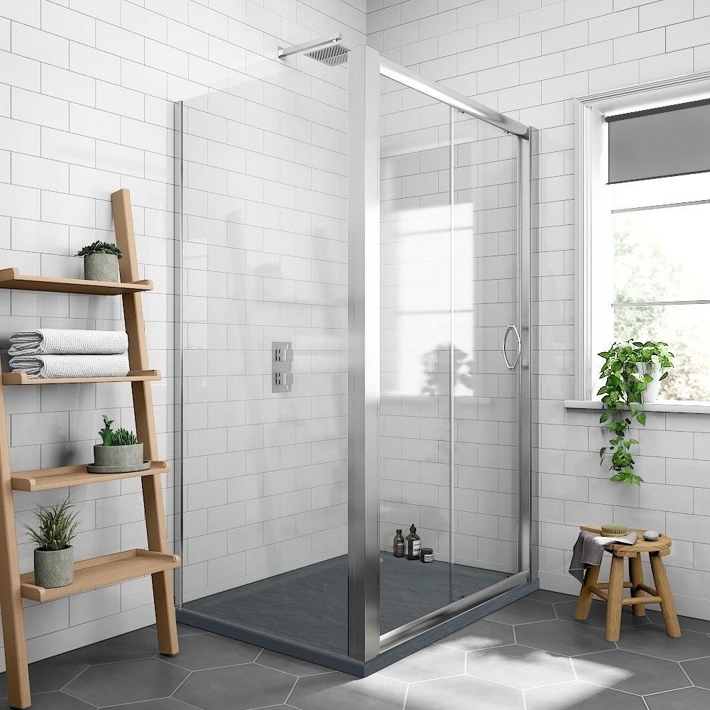 Newark 1200 x 800mm Sliding Door Shower Enclosure + Slate Effect Tray