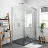 Newark 1200 x 900mm Sliding Door Shower Enclosure + Slate Effect Tray profile small image view 1