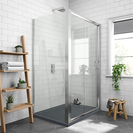 Newark 1000 x 800mm Sliding Door Shower Enclosure + Slate Effect Tray