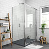 Newark 1000 x 800mm Sliding Door Shower Enclosure + Slate Effect Tray profile small image view 1
