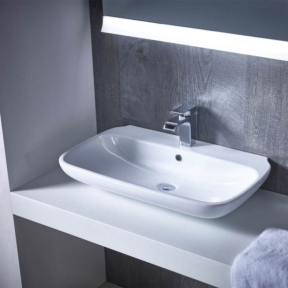 Roper Rhodes Note 750mm Wall Mounted or Countertop Basin - N75SB profile large image view 2
