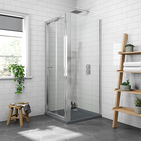 Newark 800 x 800mm Bi-Folding Shower Enclosure + Slate Effect Tray