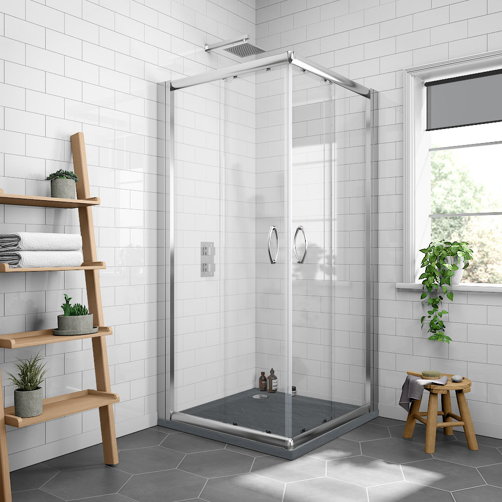 Newark 800 x 800mm Corner Entry Shower Enclosure + Slate Effect Tray