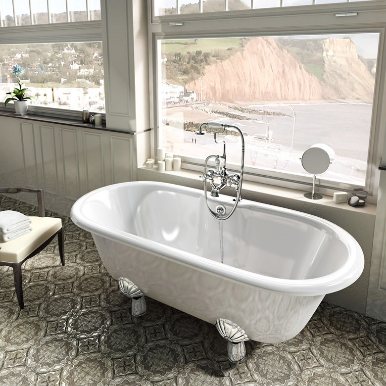 Clearwater - Classico Natural Stone Bath with Classic Chrome Feet - 1690 x 800mm - N9-L3C profile large image view 3