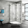 Nova Frameless 900 x 900mm Single Door Quadrant Shower Enclosure profile small image view 1