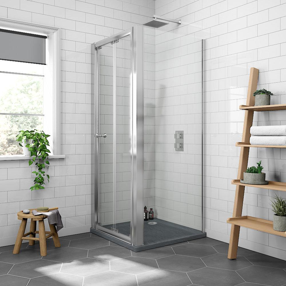 Newark 900 x 900mm Bi-Folding Shower Enclosure + Slate Effect Tray