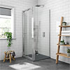 Newark 900 x 900mm Bi-Folding Shower Enclosure + Slate Effect Tray profile small image view 1