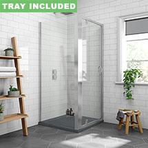 Newark 900 x 900mm Pivot Door Shower Enclosure + Slate Effect Tray