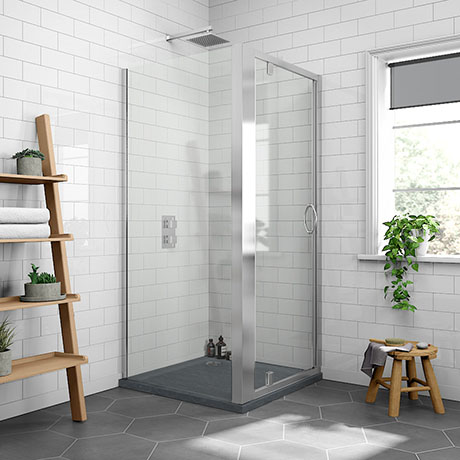 Newark 900 x 900mm Pivot Door Shower Enclosure + Slate Effect Tray