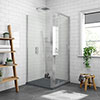 Newark 900 x 900mm Pivot Door Shower Enclosure + Slate Effect Tray profile small image view 1