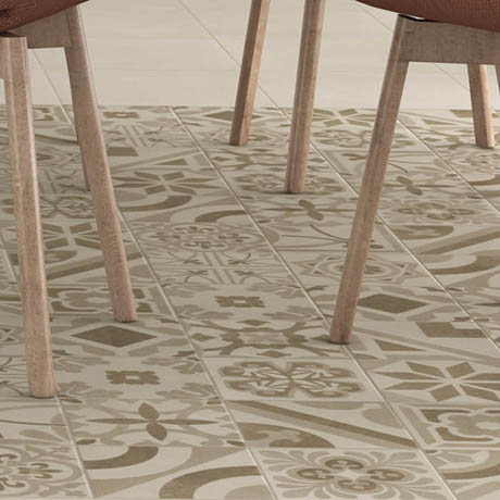 Navaro Beige Patterned Floor Tiles - 450 x 450mm