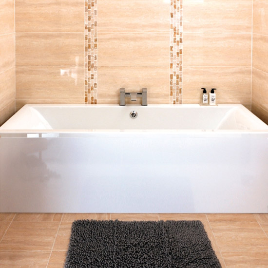 Asselby Square 1700 x 700 Double Ended Acrylic Bath with Waste and Front Panel Large Image