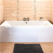 Asselby Square 1700 x 700 Double Ended Acrylic Bath with Waste and Front Panel Medium Image