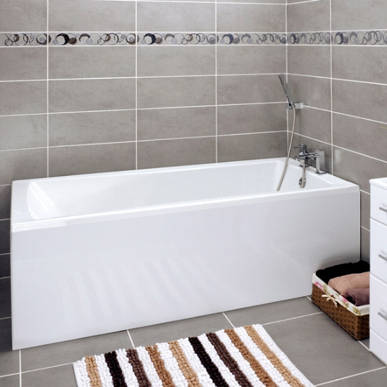 Linton Square 1700 x 700 Single Ended Acrylic Bath with Waste and Front Panel