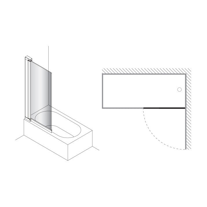 Simpsons - Click Single Bath Screen - 800mm profile large image view 3