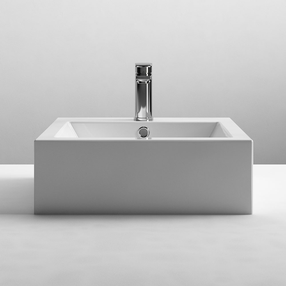 Nuie 470 x 450mm Square Ceramic Counter Top Basin - 1 Tap Hole - NBV102