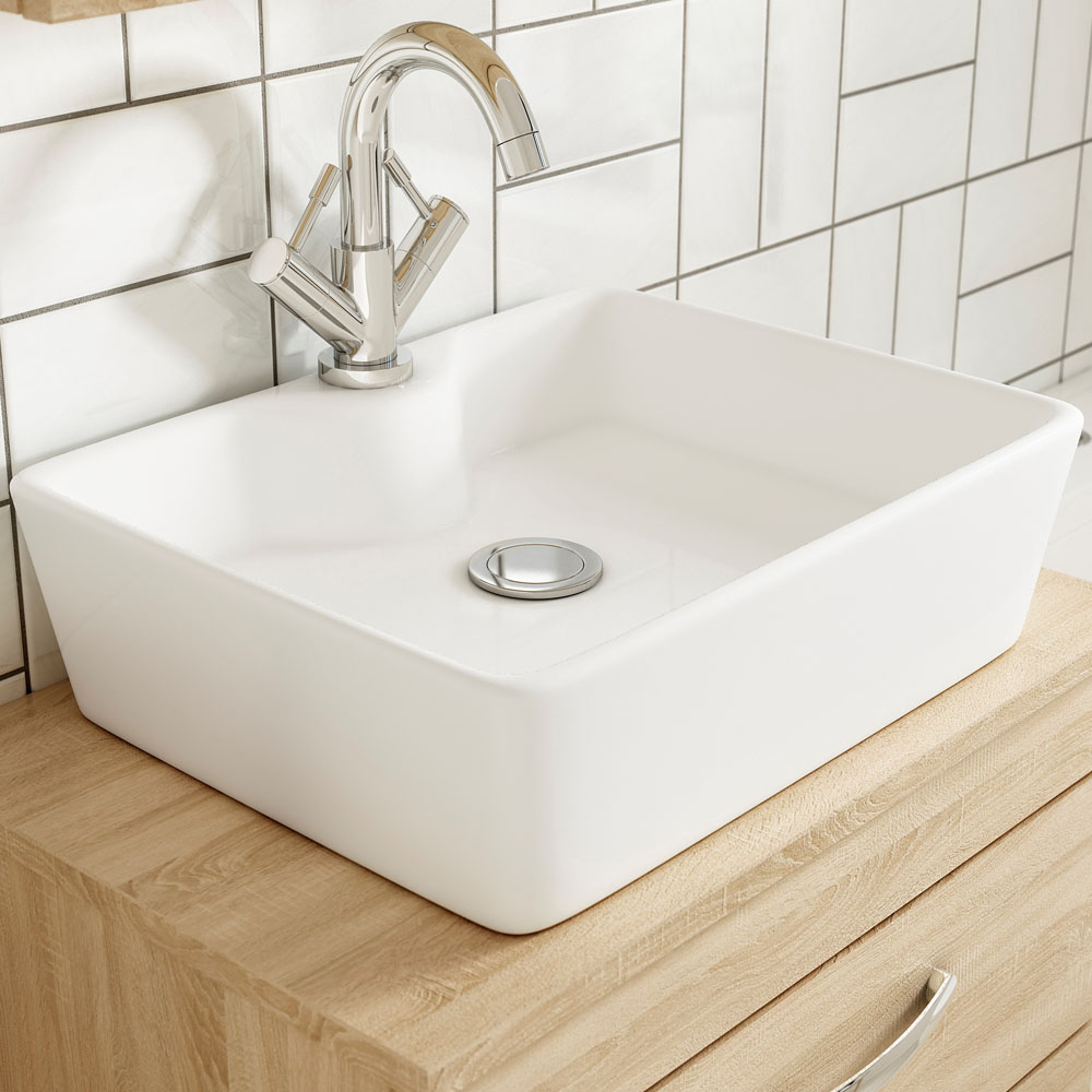 Nuie Tide 480 x 370mm Square Ceramic Counter Top Basin - NBV119