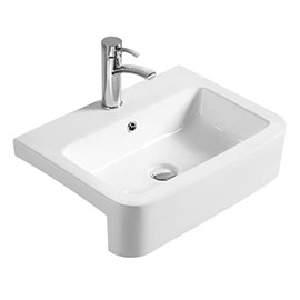 Hudson Reed 565mm 1TH Rectangular Semi-Recessed Basin - NBV171