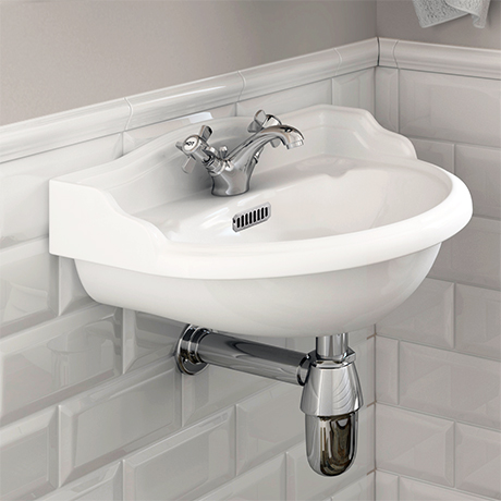 Old London - Chancery Wall Hung Cloakroom Basin (500mm Wide - 1 Tap Hole)