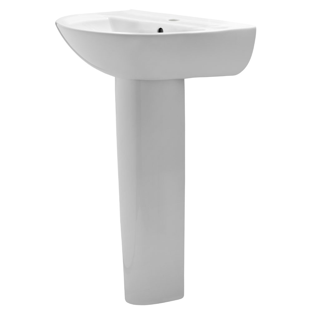 Premier - Pandora 550 Basin with Pedestal - 1 or 2 Tap Hole Options Large Image