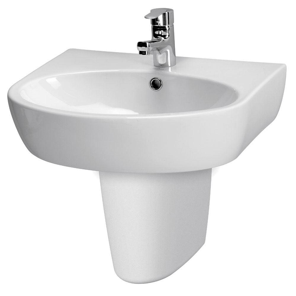 Premier - Cairo 1TH Basin with Semi-Pedestal - Various Size Options profile large image view 1