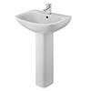 Nuie Ava 545mm 1TH Basin & Pedestal - NCG400 profile small image view 1